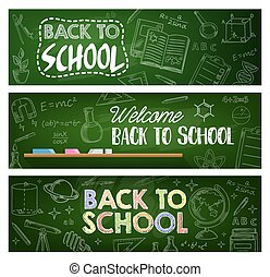 Back to school supplies, education vector banners