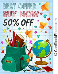 Back to school supplies sale banner, retail design