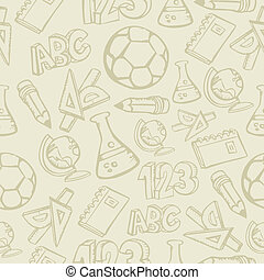 Back to School supplies seamless pattern background. Vector illustration layered for easy manipulation and custom coloring.