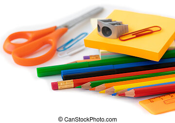 Back to school supplies, september 1 postcard concept, isolated