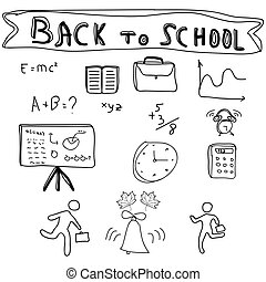 Back to School Supplies Sketchy Doodles