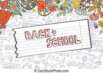 Back to School Supplies Sketchy.Lieaves,paper.Horizontal -...