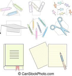 Back to school supplies, vector isolated objects, flat simple design