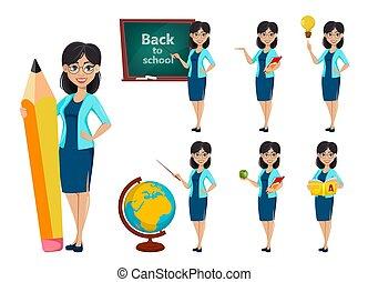 Back to school. Teacher woman cartoon character, set of seven poses. Teacher's day. Vector illustration