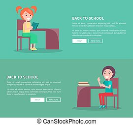 Back to School Template Poster of Pupils at Desks