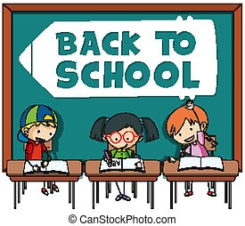 Back to school template with student