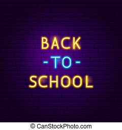 Back to School Text Neon Label