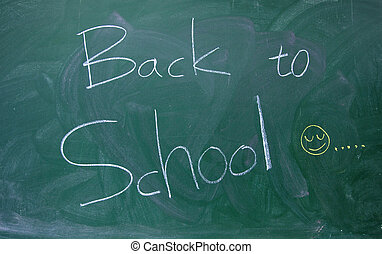Back to school text on the  blackboard