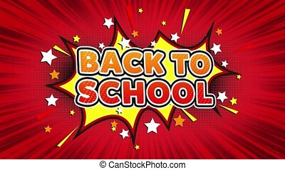 Back To School Text Pop Art Style Expression. Retro Comic Bubble Expression Cartoon illustration, Isolated Flat Cartoon Comic Style on Green Screen