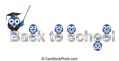 Back to school text with bird teacher and pupils isolated on...