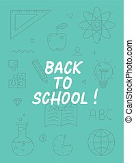 Back to school text with various education icon elements on background