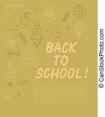 Back to school text with various education icon elements on background.