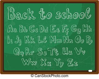 back to school - the school board with the handwritten alphabet
