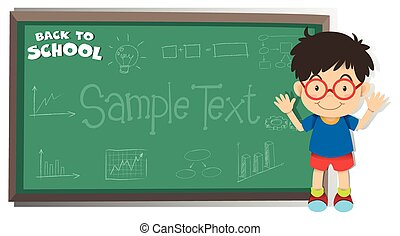 Back to school theme with boy and board