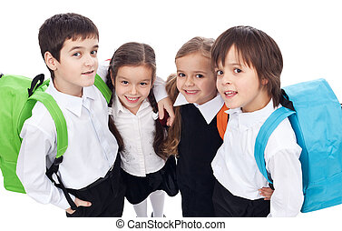 Back to school theme with group of children - closeup