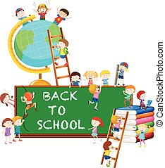 Back to school theme with kids and globe