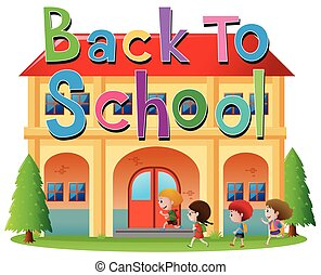 Back to school theme with kids going to school