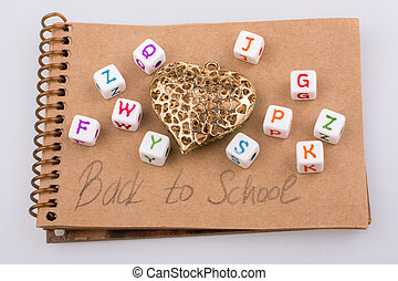 Back to school theme with letter cubes