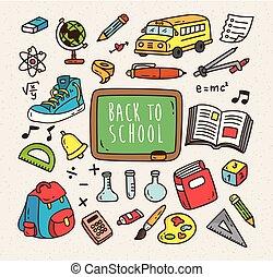 Back to school themed cartoon icon. Set of school supplies cartoon icon