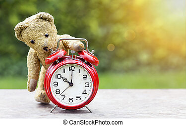 Back to school time - alarm clock with toy