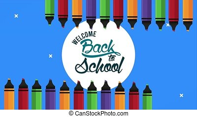 back to school time lettering with colors crayons ,4k video animated