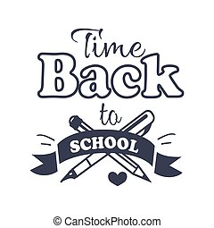 Back to School Time Sticker with Text on White