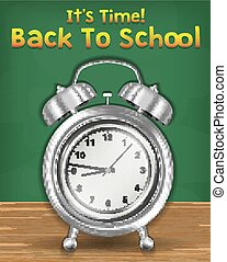 back to school time with alarm clock