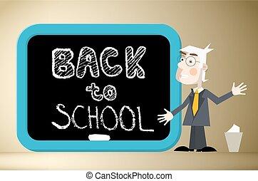 Back to School Title on Blackboard with Teacher