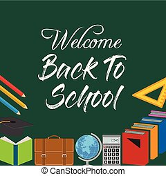 Back to School Title Words with Realistic School Items With Colored icons in a green Background. Vector Illustration