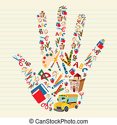 Back to school tools in hand shape - School tools and ...