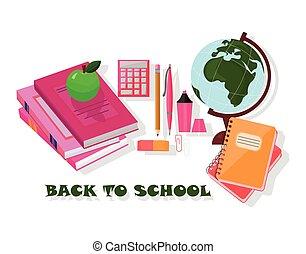 Back to school tools. Vector template Background school supplies set
