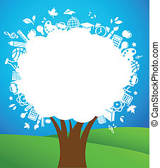 back to school - tree with education icons