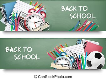 Back to school. Two banners with school supplies. Vector