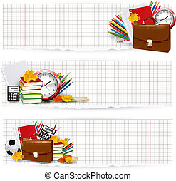 Back to school. Two banners with school supplies. Vector.