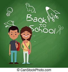 back to school two pupil board chalk text draw