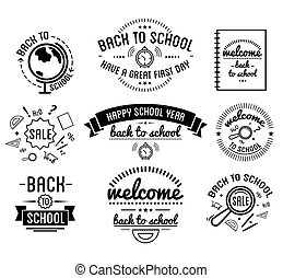 Back to School typography Designs Label Set.