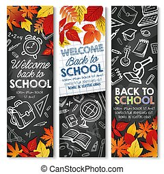 Back to School vector autumn education banners