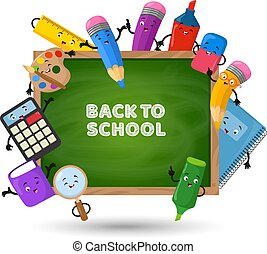 Back to school vector background. Education concept with school supplies