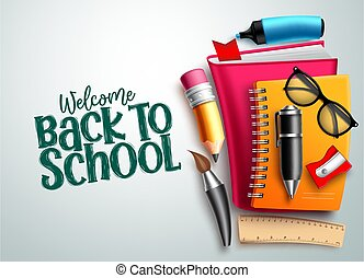 Back to school vector background. Welcome back to school text in white empty space