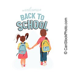 Back to school vector background with greeting text. Little ...