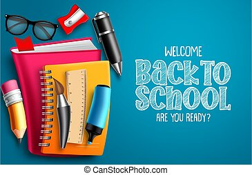 Back to school vector banner background. Welcome back to school text in blue empty space