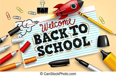 Back to school vector banner background. Welcome back to school text in index card paper with education elements like color pencil and rocket toy elements for educational study design.