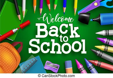 Back to school vector banner background. Welcome back to school text with colorful education supplies like crayons and pens for educational knowledge design.