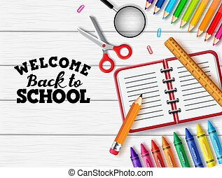Back to school vector banner background. Welcome back to school text with education supplies like notebook, pencil, ruler, crayon, scissor and color pencil element in white wood texture background.