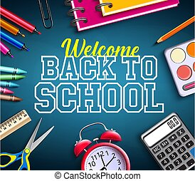 Back to school vector banner background. Welcome back to school text with educational tools supplies like calculator, alarm clock and color pens element for education study design.