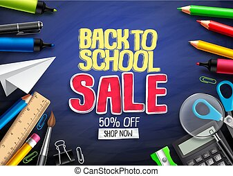 Back to school vector banner design for education shopping discount promotion