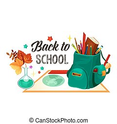 Back to School vector chemistry lesson poster