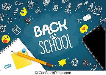 Back to school vector concept with elements
