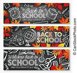Back to School vector education season banners
