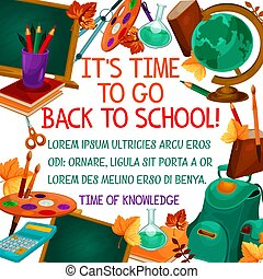 Back to School vector education time poster